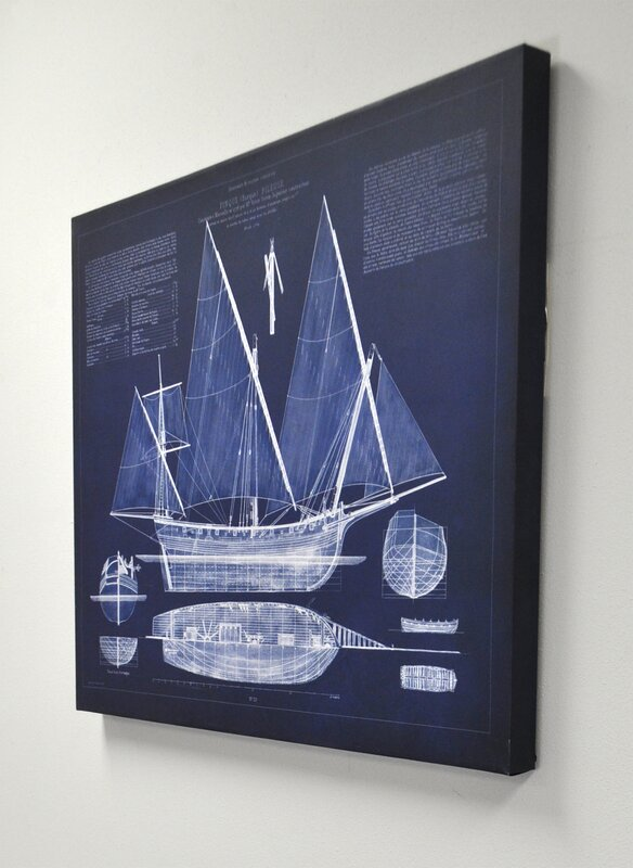 Antique ship blueprint by vision studio graphic art on wrapped antique ship blueprint by vision studio graphic art on wrapped canvas malvernweather Gallery