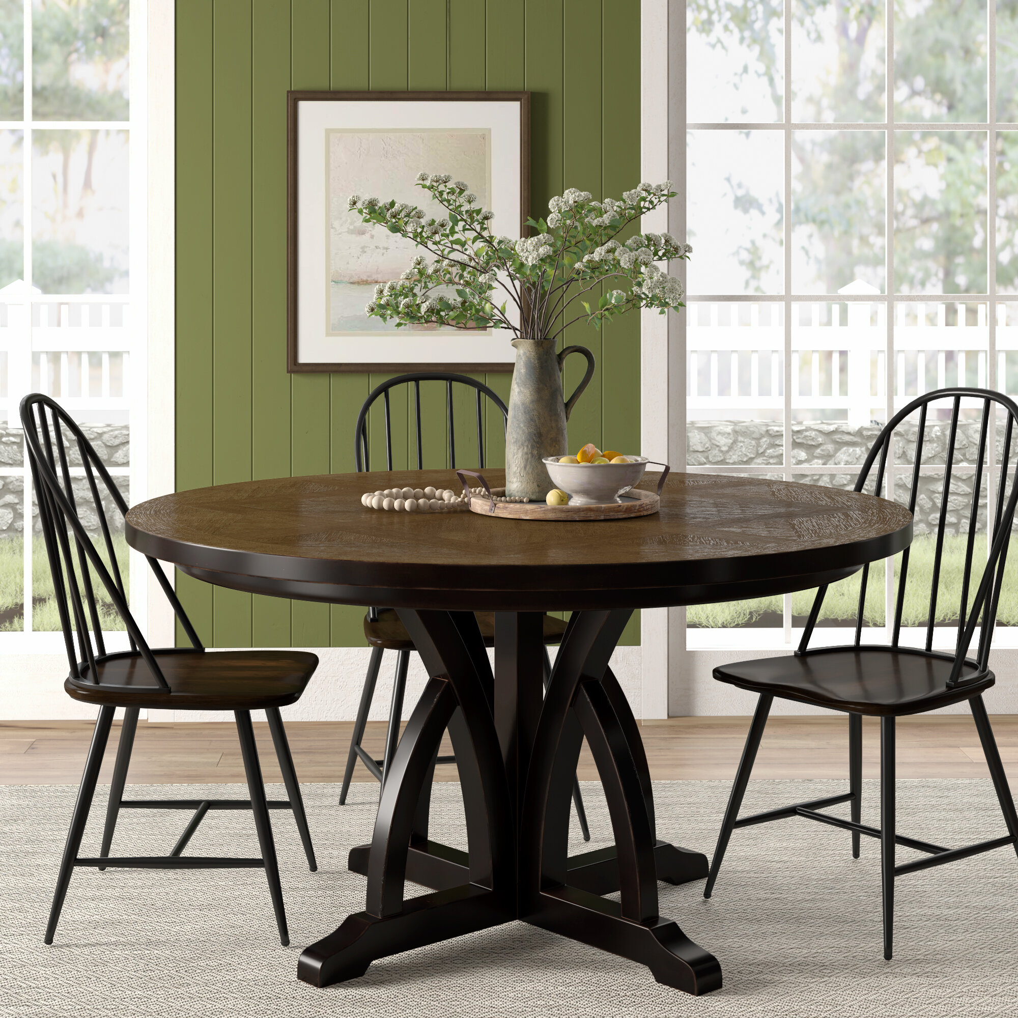 Gracie Oaks Tenley Round Solid Wood Dining Table