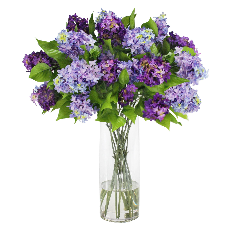 Jane Seymour Botanicals Lilac Floral Arrangement In Glass Vase Wayfair Ca