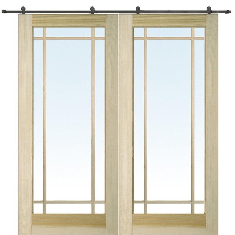 Verona Home Design 9-Lite Double Glass Barn Door With