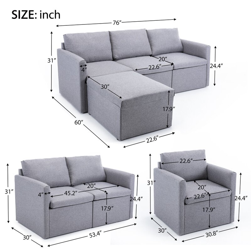BEW 4 Piece Configurable Living Room Set