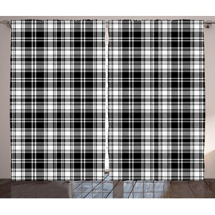 Bressyln Abstract British Tartan Pattern with Vertical and Horizontal Symmetric Stripes Image Graphic Print & Text Semi-Sheer Rod Pocket Curtain Panels (Set of 2) by Loon Peak