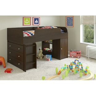 Amak Panel Twin Loft Bed with Drawers and Bookcase and Ladder and Toy Box