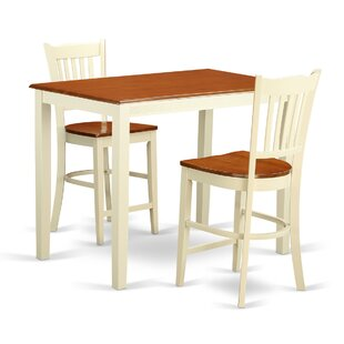East West Furniture Yarmouth 3 Piece Counter Height Pub Table Set