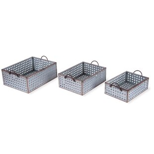 3 Piece Perforated Galvanized Bins Set By Foreside Home & Garden
