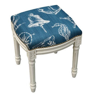 123 Creations Nautical Linen Upholstered Vanity Stool with Nailhead