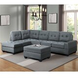 Breau 104 Right Hand Facing Modular Corner Sectional with Ottoman (Set of 3) by Latitude Run®
