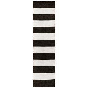 Currin Handwoven Flatweave Black Area Rug