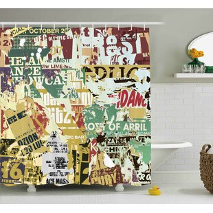 Guadalupe Old Torn Posters Collage Shower Curtain + Hooks
