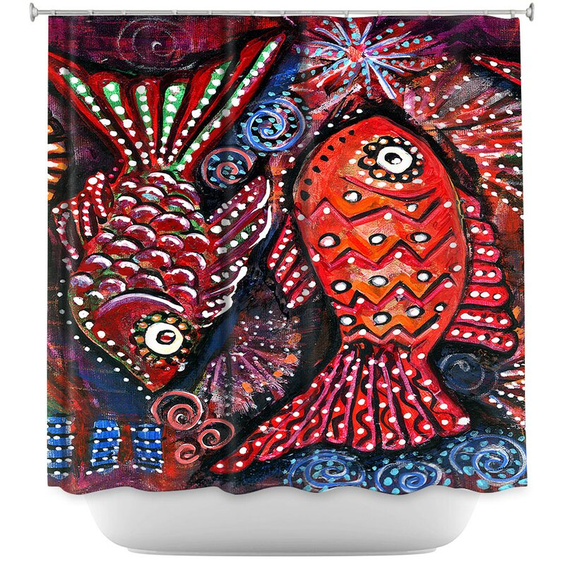 East Urban Home Two Funky Fish Single Shower Curtain Wayfair