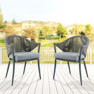 Mukul Patio Dining Chair with Cushion (Set of 2)