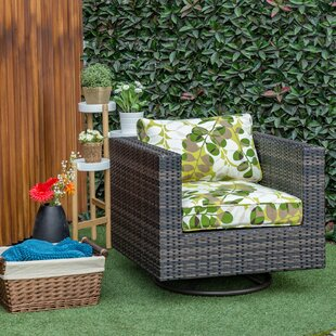 Mcnally Swivel Patio Chair with Cushion in , Green Leaf