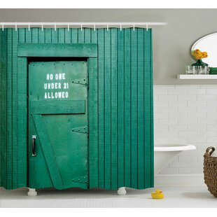 Stacey Monochrome Vintage Local Iris Pub Rustic Door With Warning Phrase Culture Photo Single Shower Curtain