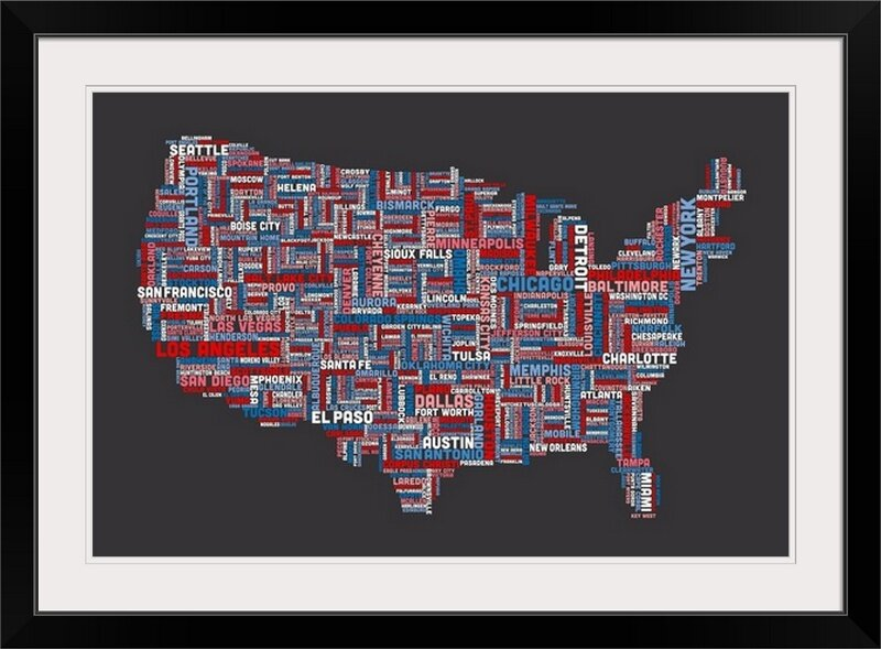 Great Big Canvas United States Cities Map By Michael Tompsett Textual Art Wayfair