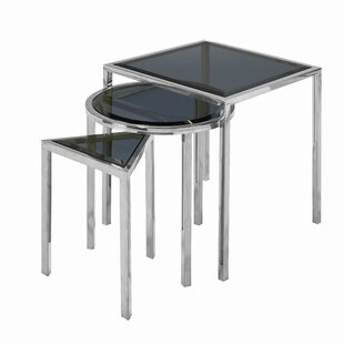 Everly Quinn Almaraz Nesting Table Smoked Glass