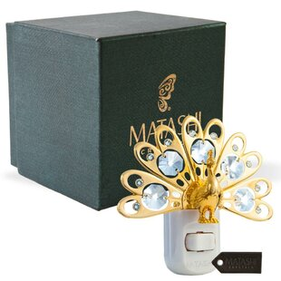 Matashi Crystal 24K Gold Plated Crystal Studded Peacock LED Night Light