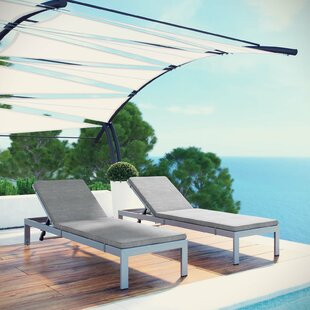 Coline Outdoor Patio Aluminum Sun Lounger Set with Cushions (Set of 2) by Orren Ellis