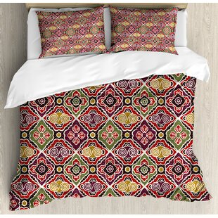 East Urban Home Traditional Antique Motifs Eastern Exotic Pattern Asian Accents Vintage Oriental Duvet Set
