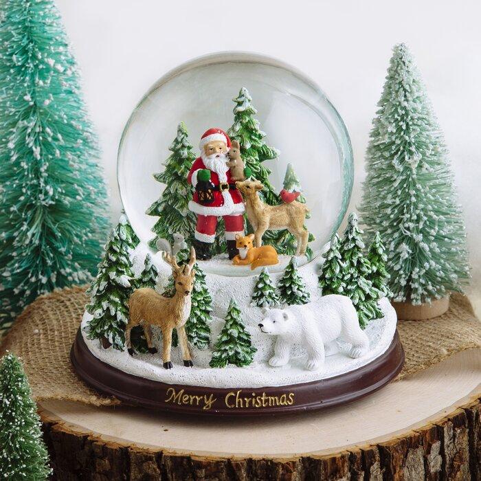 Santa Woodland Forest Snow Globe