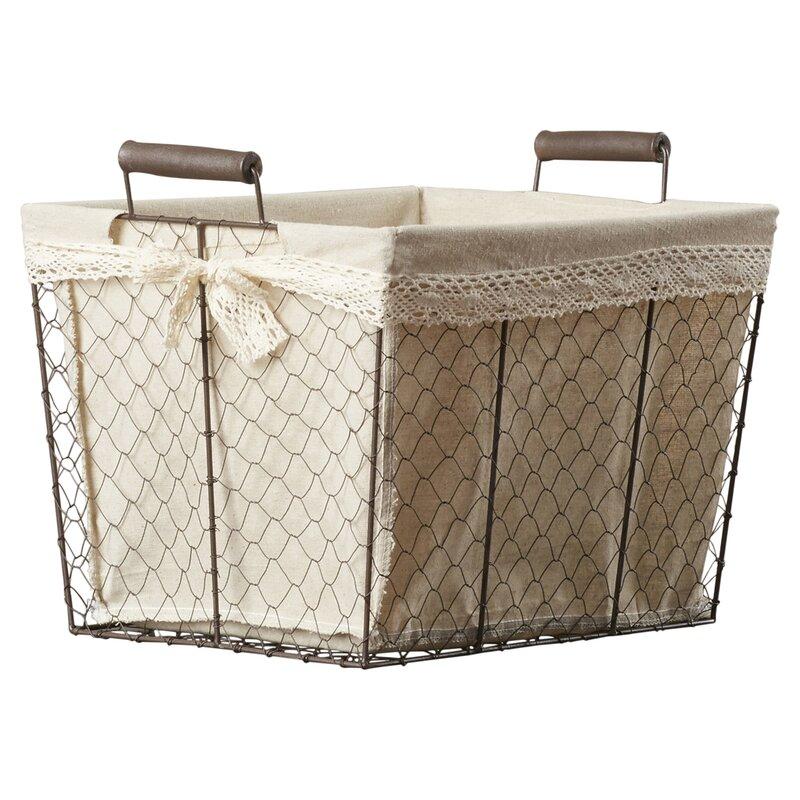 3 Piece Rectangular Lined Wire Storage Basket Set