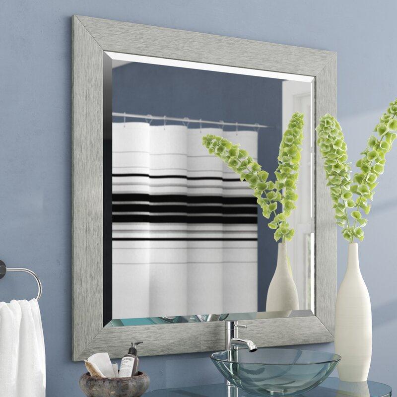 Brayden Studio Tirado Brushed Silver Beveled Wall Mirror Wayfair