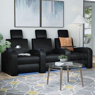 Latitude Run Power Recline Leather Home Theater Sofa (Row of 3)