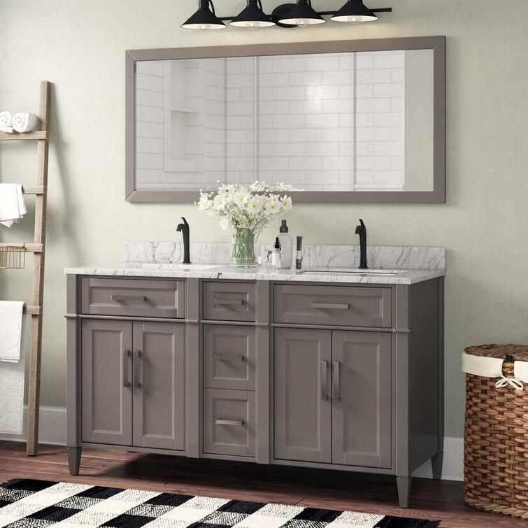 Gracie Oaks Monadnock 59 8 Double Bathroom Vanity Set With Mirror Reviews Wayfair