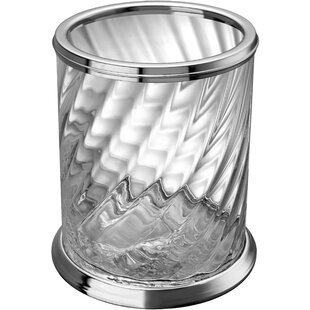 Alcott Hill Inglestone Common Clear Round Top Bath Glass/Brass Open Waste Basket