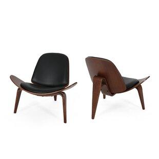 Bohanan Mid-Century Modern Shell Side Chair (Set of 2) by Corrigan Studio