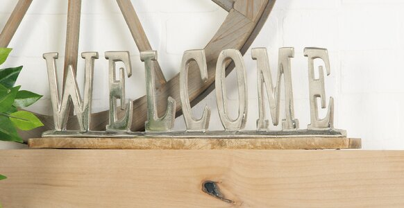 Aluminum Wood Welcome Letter Block