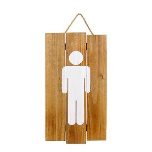 Genial Hanging Wooden Bathroom Sign Wall Decor