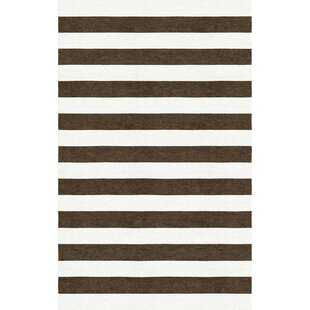 Nigam Stripe Hand-Tufted Wool Brown/White Area Rug By Latitude Run