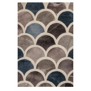 Best Price Papillion Hand-Tufted Wool Charcoal/Gray/Blue Area Rug ByIvy Bronx