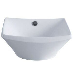 Courtyard Ceramic Square Vessel Bathroom Sink with Overflow