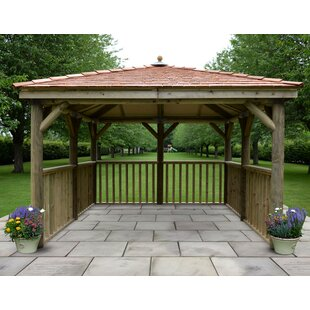 3.5m X 3.5m  Wooden Gazebo With Cedar Roof By Sol 72 Outdoor