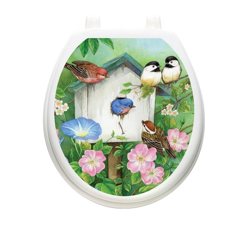 Toilet Tattoos Blooming Birdhouse Toilet Seat Decal Reviews Wayfair