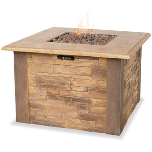 Uniflame Corporation Mason Steel/Faux Stone Propane Fire Pit Table
