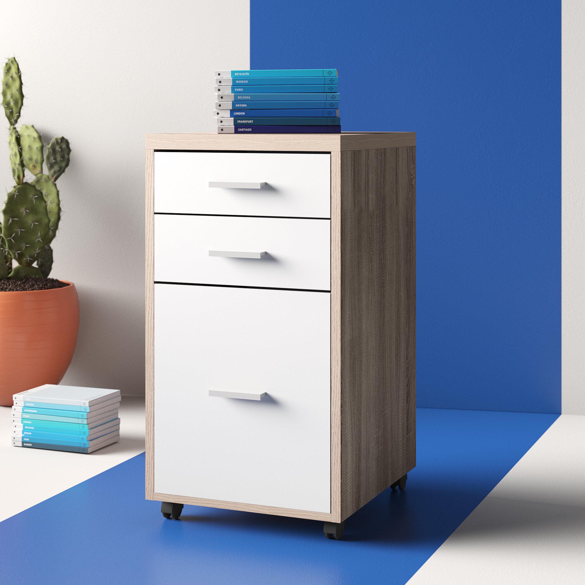 Ebern Designs Midway 3 Drawer Mobile Vertical Filing Cabinet Reviews Wayfair