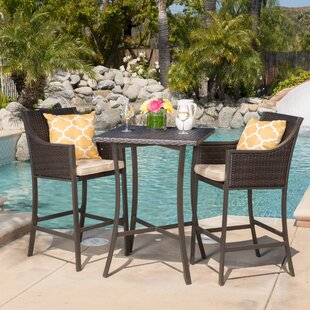 Mercury Row Alexa 3 Piece Bar Height Dining Set with Cushion