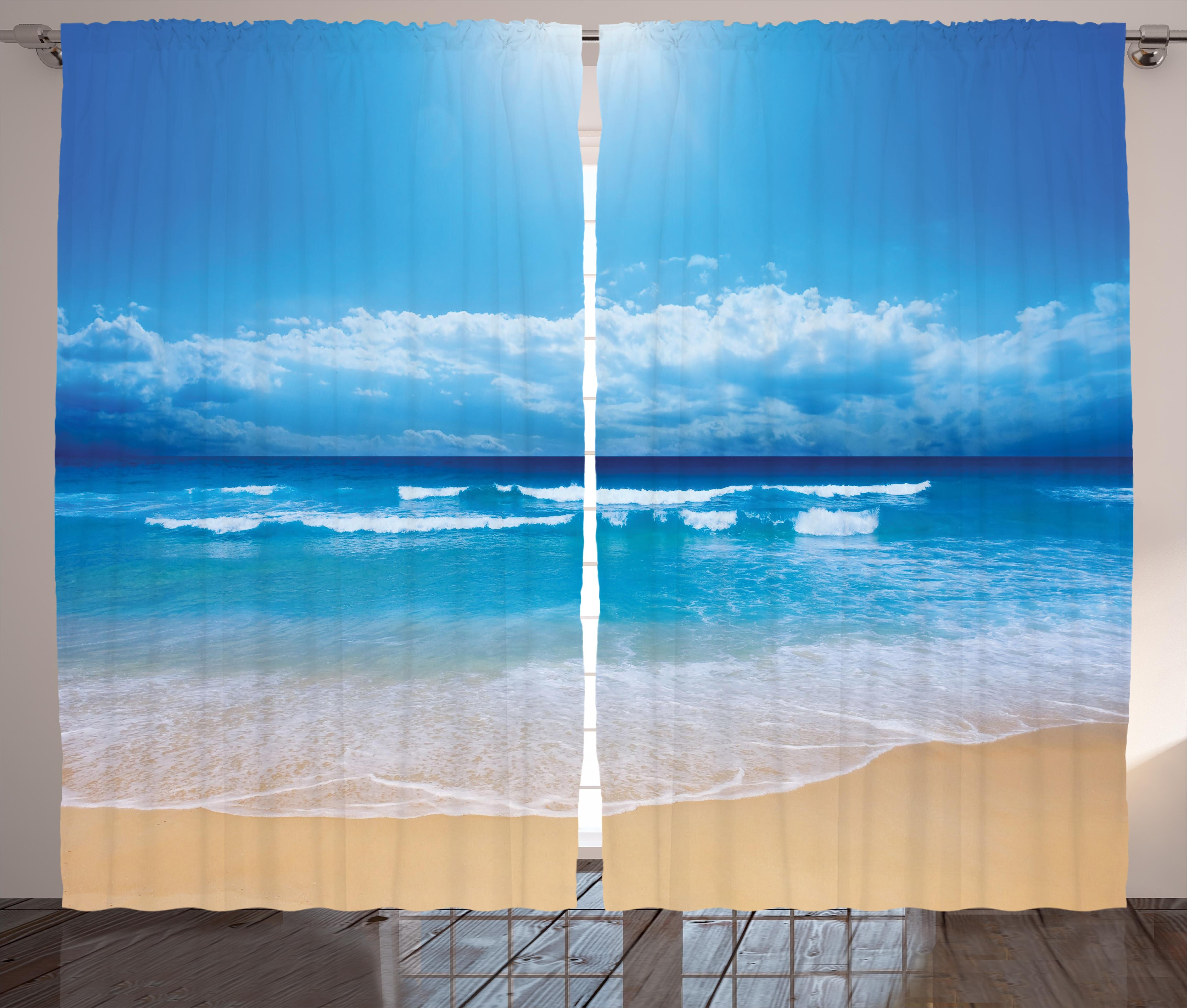 Latitude Run Grandwood Beach Seascape Theme Landscape Of The Beach And The Cloudy Sky In Summer Digital Print Graphic Print Text Semi Sheer Rod Pocket Curtain Panels Reviews Wayfair
