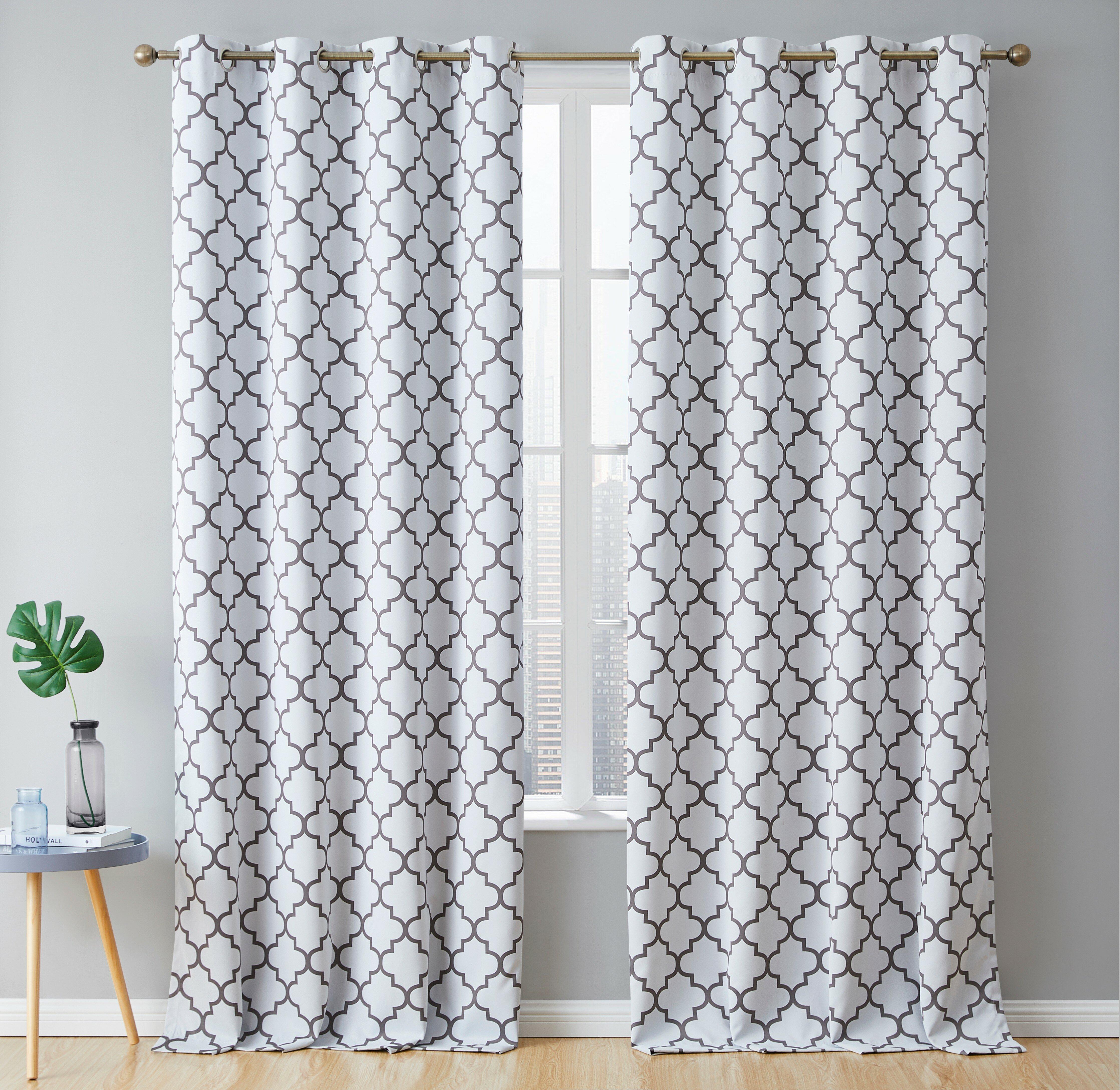 Andover Mills Temescal Lattice Geometric Blackout Thermal Grommet Curtain Panels Reviews Wayfair