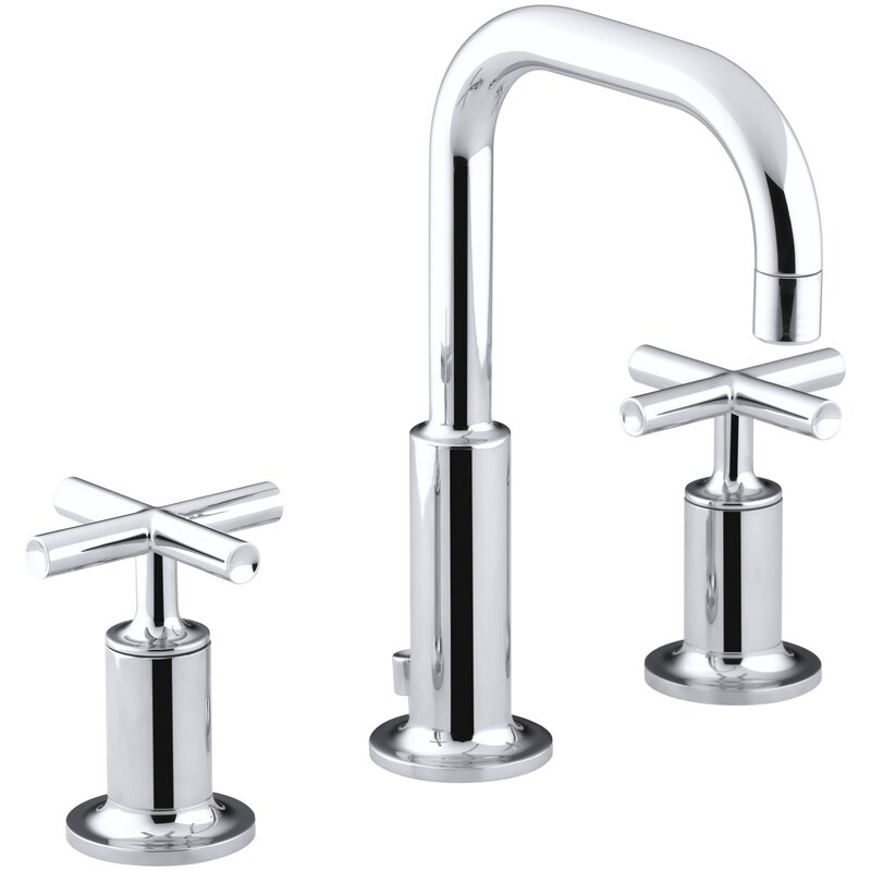 Purist Widespread Bathroom Sink Faucet with Low Cross Handles and Low Gooseneck Spout