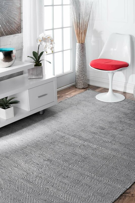 Marcelo Flat Woven Cotton Gray Area Rug