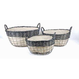 Compare prices Storage 3 Piece Fabric/Wood Basket Set ByGracie Oaks