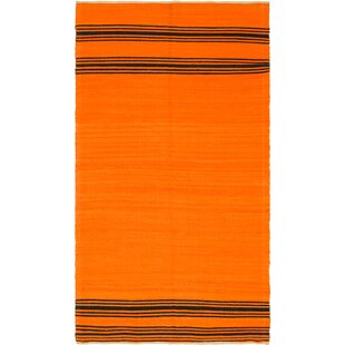 Best Reviews One-of-a-Kind Ilfracombe Hand-Knotted 6'2 x 11'3 Wool Orange/Black Area Rug By Isabelline