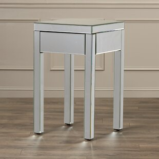 Keels Mirrored End Table With Storage