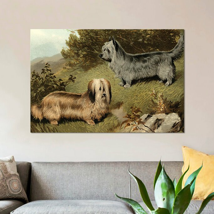 East Urban Home Terriers Painting Print On Wrapped Canvas Wayfair