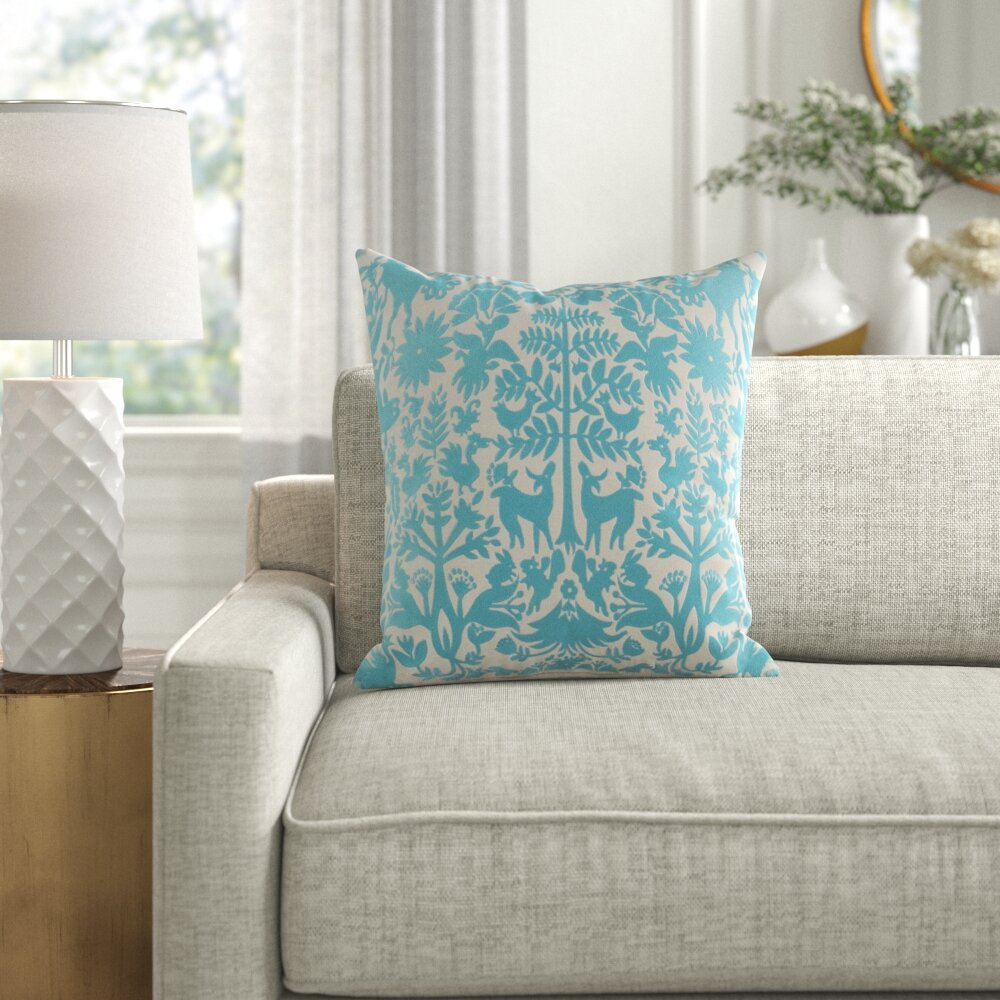 Taza Square Cotton Floral Throw Pillow Cover Reviews Joss Main