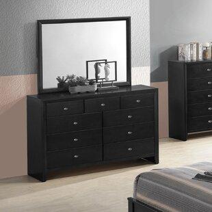 Ebern Designs Willenhall 9 Drawer Double Dresser with Mirror