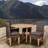 Truex International Home Outdoor 5 Piece Teak Dining Set